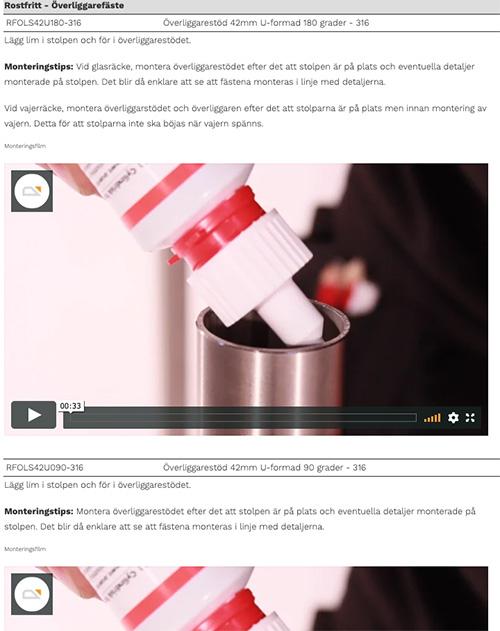 Exempel monteringsvideo Räckesbutiken