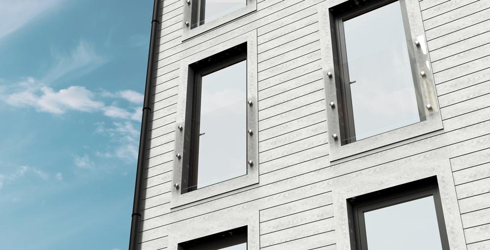 Fransk balkong på lägenhetshus