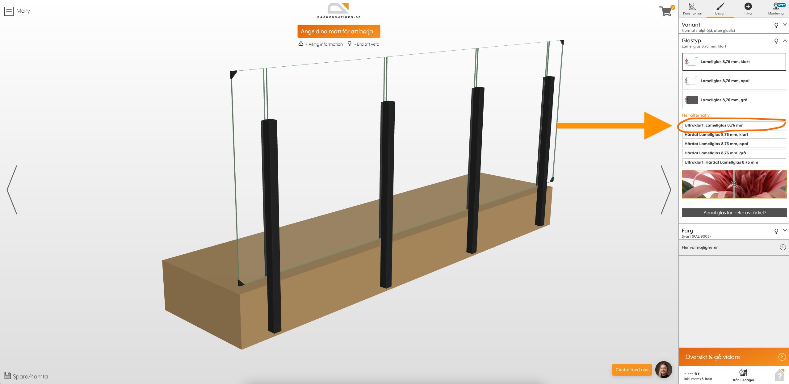 Designverktyg ultraklart glas